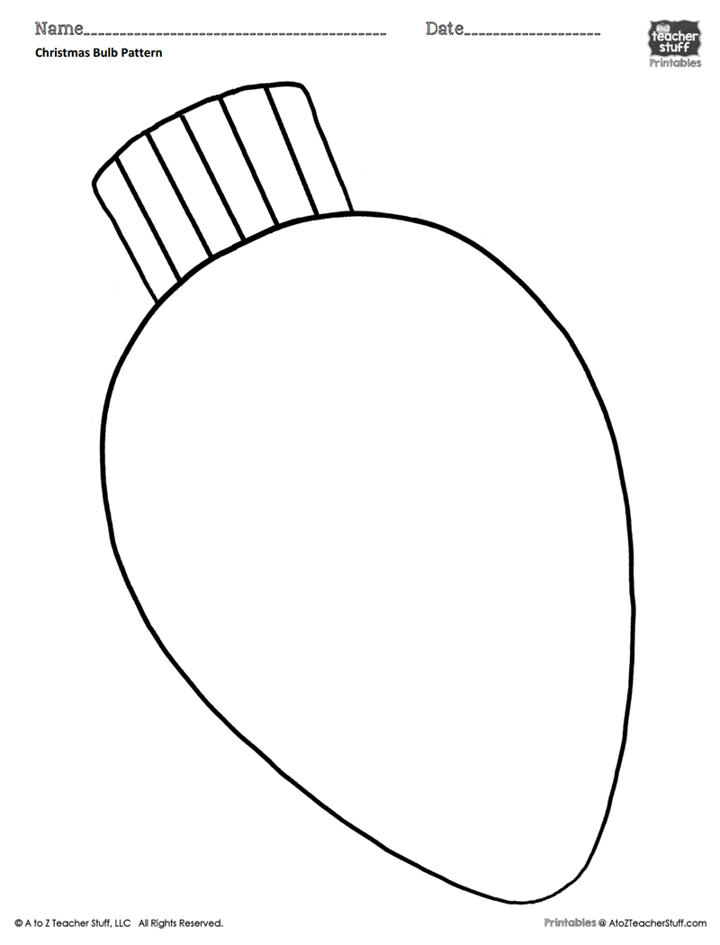 christmas tree light bulb coloring pages | Christmas Light Bulb Coloring Page | Free download best ...