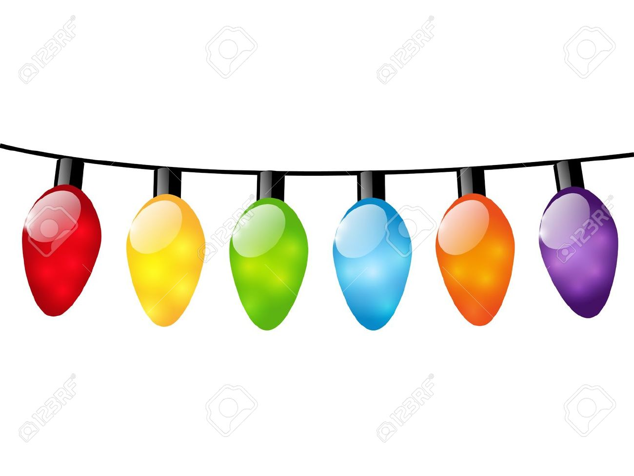 1300x975 Christmas Color Light Bulbs On White Royalty Free Cliparts