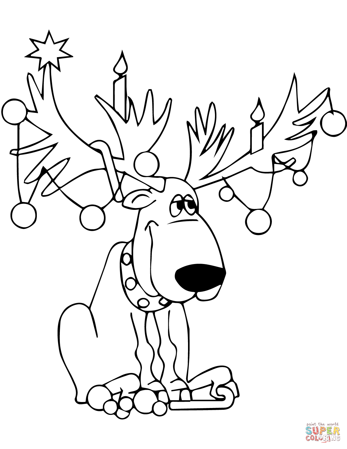 1159x1500 Christmas Deer With Light Bulbs Garland Zentangle Coloring Page