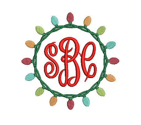 452x402 Christmas Light Wreath Frame Design File For Embroidery Machine