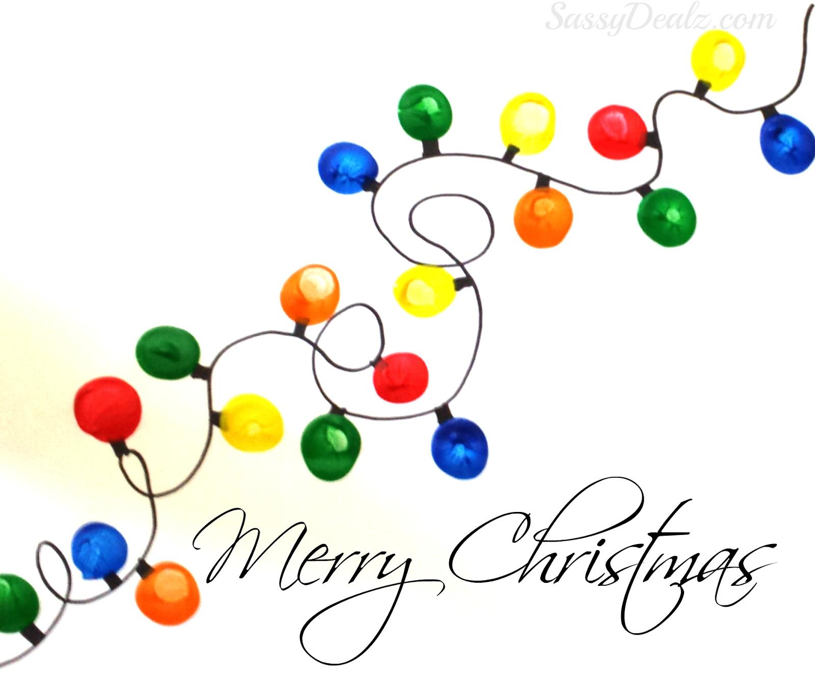 1600x1325 Fingerprint Christmas Light Craft For Kids (Diy Christmas Card
