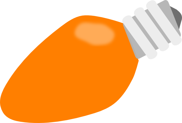 600x407 Orange Christmas Lightbulb Clip Art