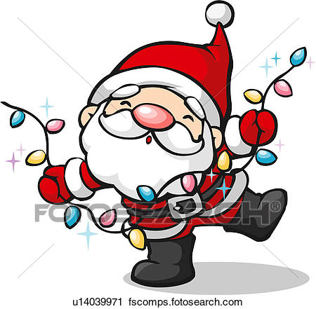450x441 Clipart Of Santa Claus With Christmas Light Bulbs U14039971