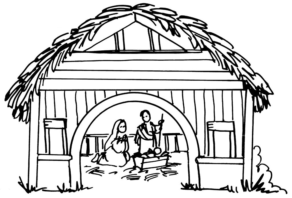 1020x692 Christmas Nativity Clip Art Black And White