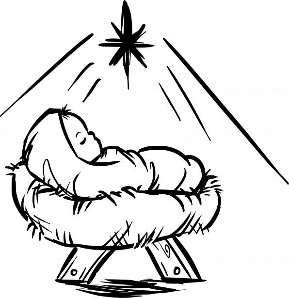 596x615 Baby Jesus Black And White Clip Art