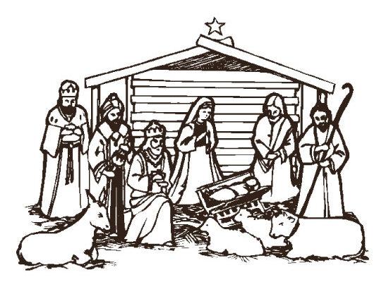554x424 Nativity Clipart Black And White