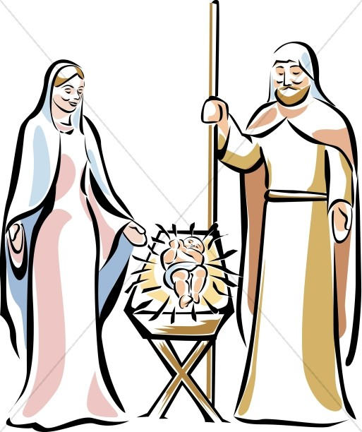 513x612 Holy Family By The Manger Manger Clipart