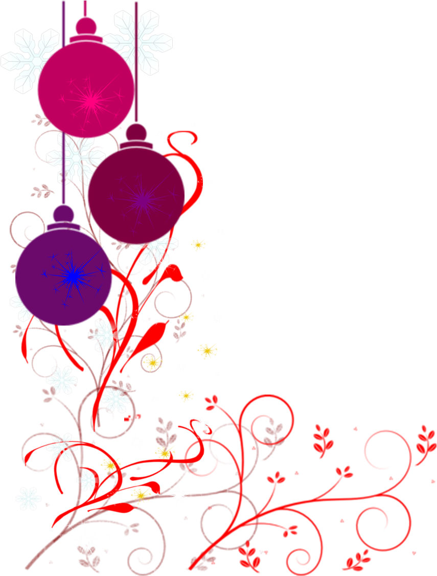 855x1127 Christmas Ornament Border Clipart