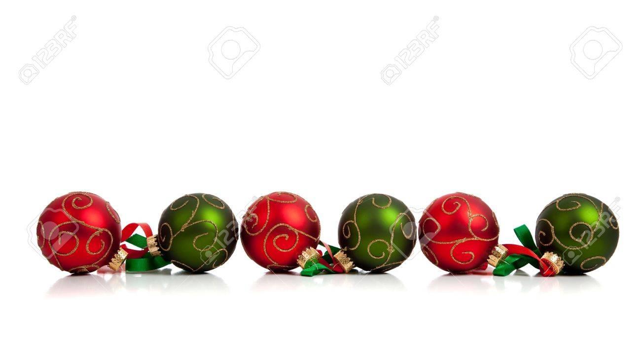 1300x700 A Christmas Ornament Border With Red And Green Glittered Baubles