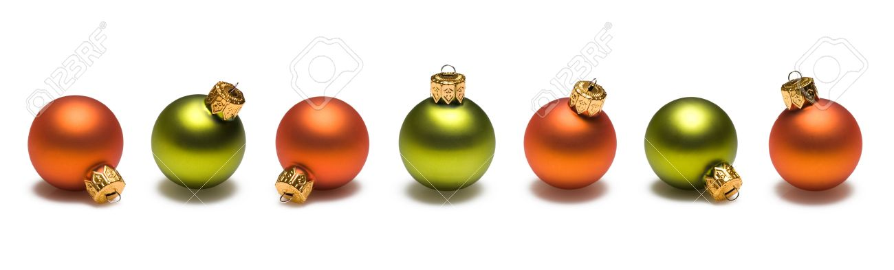 1300x393 Green And Orange Christmas Ornaments Border On White Background