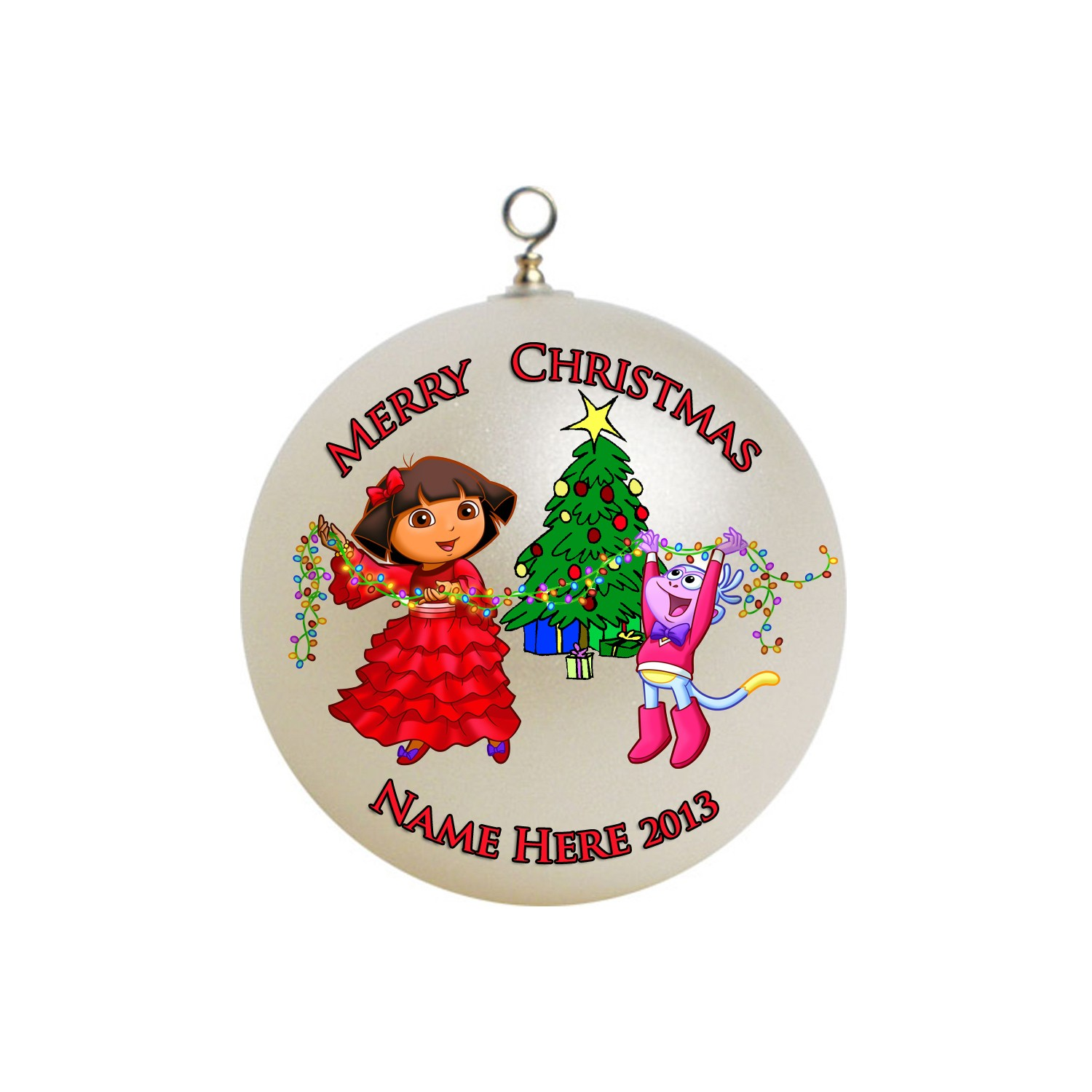 1500x1500 Personalized Dora The Explorer Christmas Ornament
