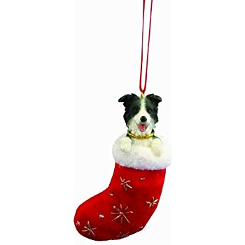 350x350 Border Collie Dog In Sleigh Christmas Ornament New