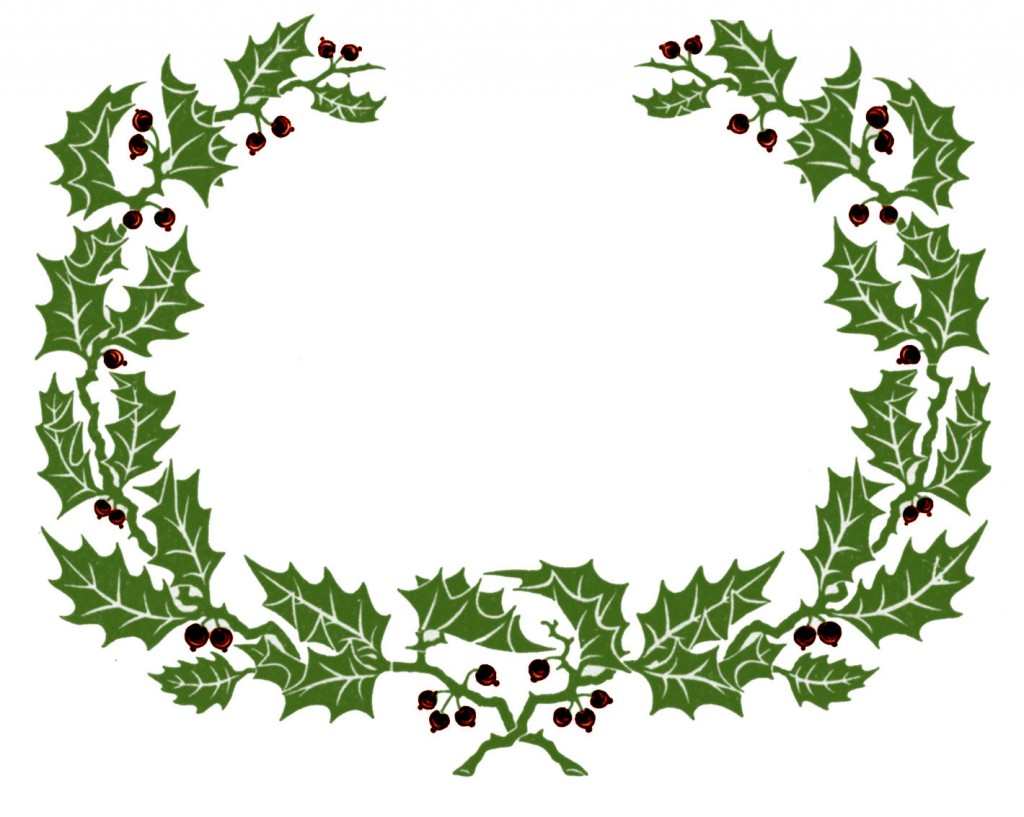 1024x817 Holly And Christmas Ornament Free Holiday Clipart