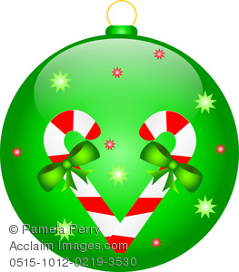 263x300 Art Image Of A Christmas Ornament Decorated With Candy Canes