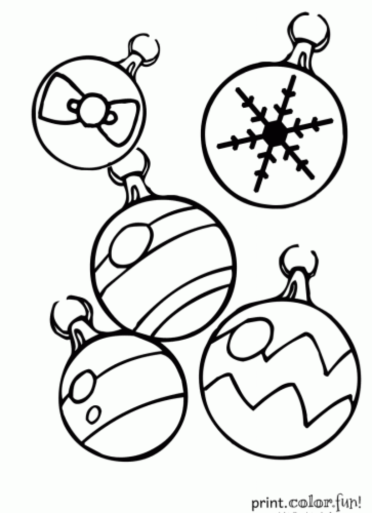 743x1024 Christmas Ornaments Coloring Page