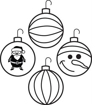 300x342 Drawn Christmas Ornaments Coloring Page