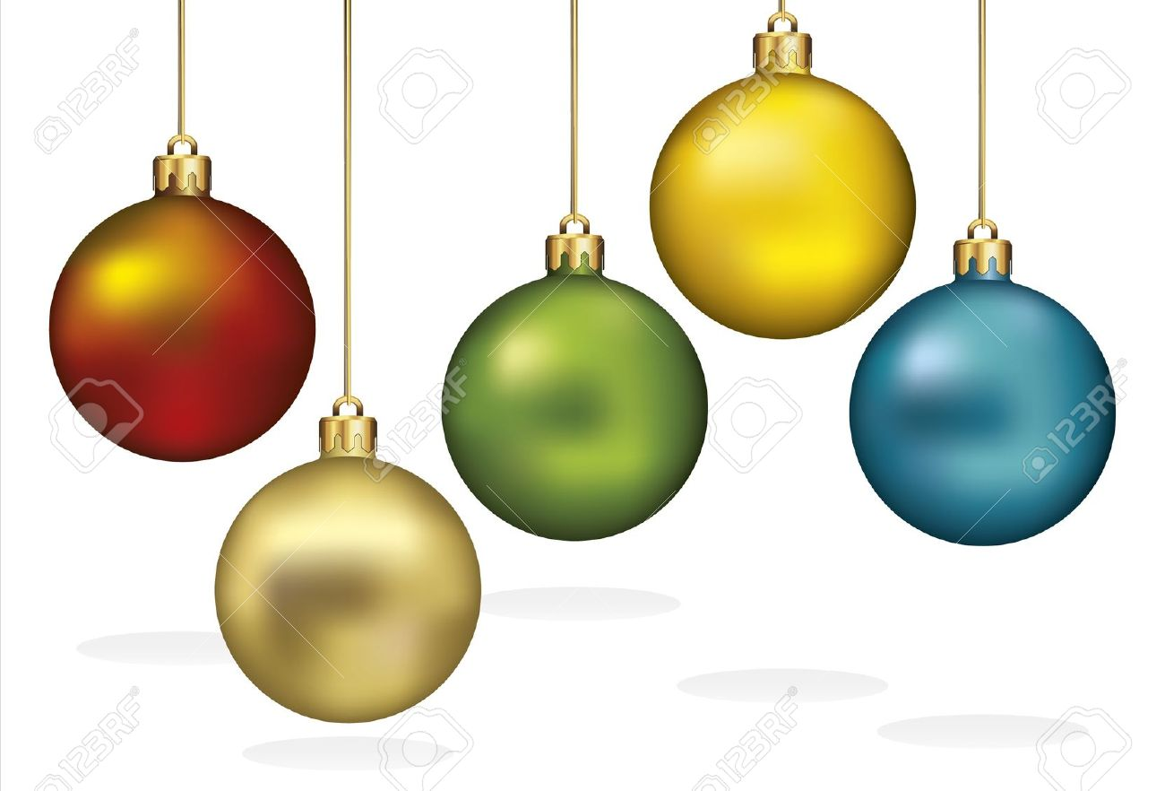 1300x882 Christmas Ornaments Hanging On Gold Thread Stock Vector Isolated