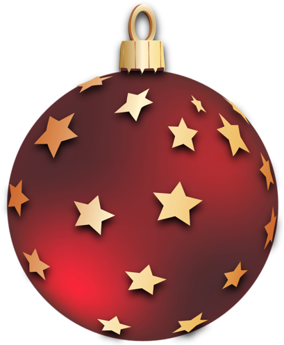 409x497 Transparent Red Christmas Ball with Stars Ornament Clipart