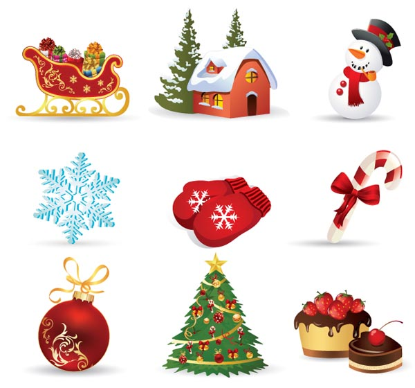 600x560 free vector Exquisite christmas ornaments vector Vector