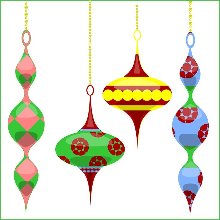 736x736 Christmas Ornaments Clipart Retro