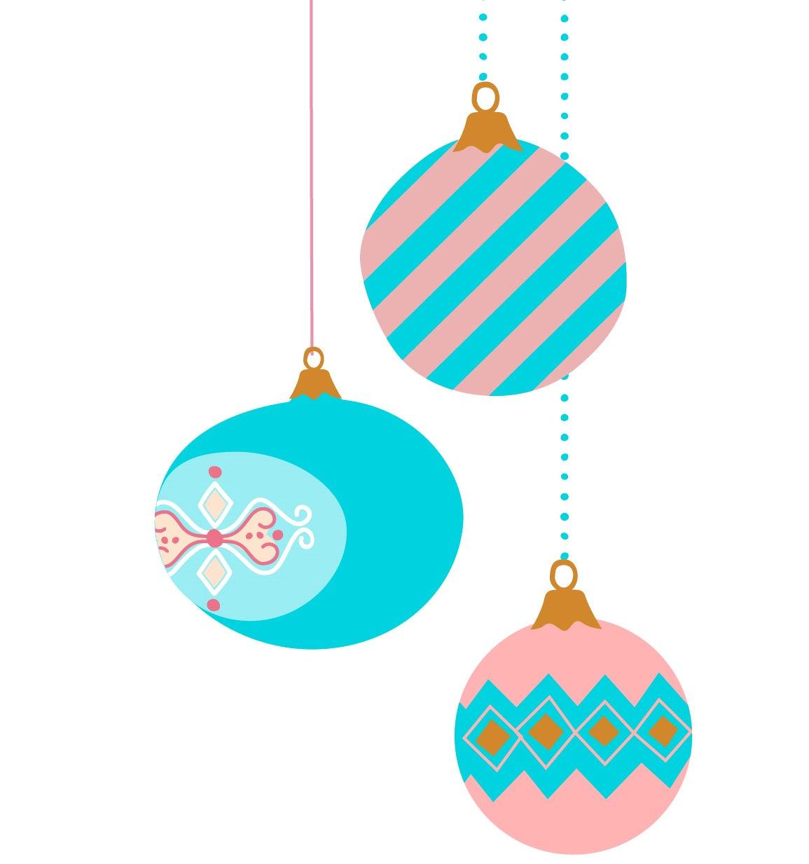1155x1233 9 Vintage Christmas Ornament Clip Art Pastel Color Retro