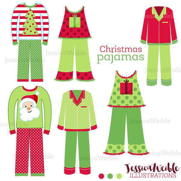 600x600 Christmas Pajamas Cute Digital Clipart, Christmas Clip Art