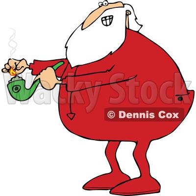 400x400 Of A Cartoon Christmas Santa Claus In Pajamas, Lighting Up A Pot