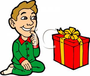 300x255 Art Image A Boy In His Pajamas Sitting In Front Of A Christmas