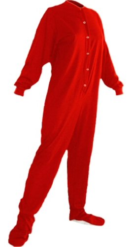 268x500 Big Feet Pjs Red Cotton Jersey Adult Footed Pajamas W Drop Seat