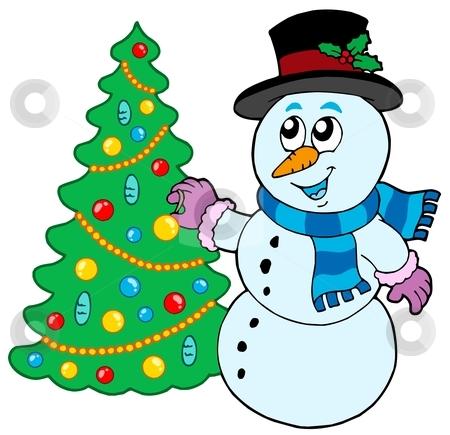 450x435 Snowman Christmas Tree Clipart