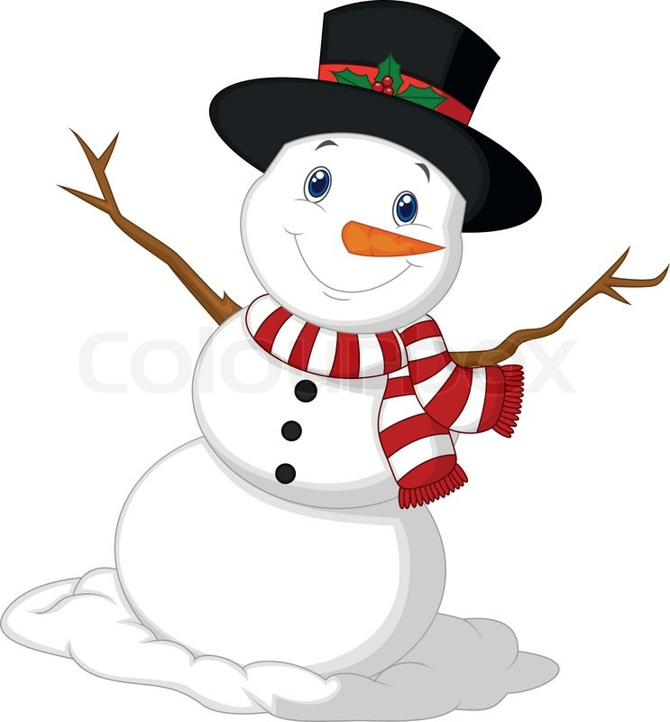 743x800 Vector Illustration Of Christmas Snowman Cartoon Wearing A Hat