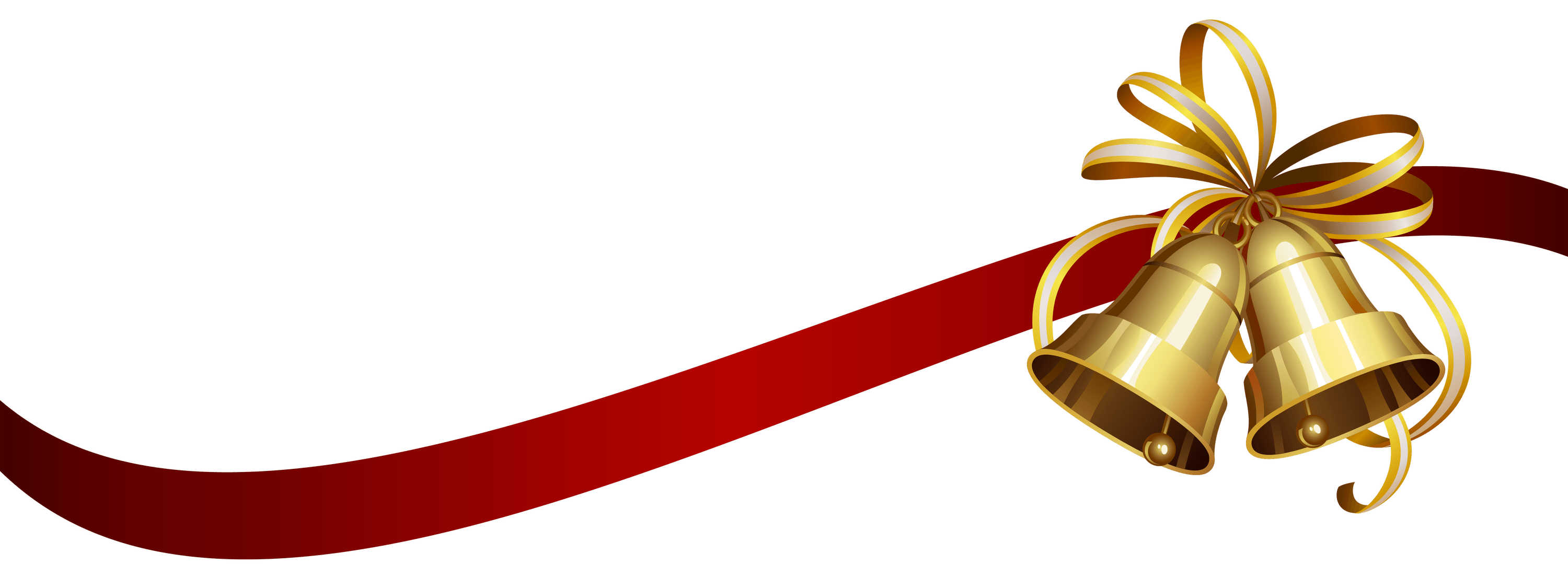 3000x1125 Christmas Ribbon And Bells Transparent Png
