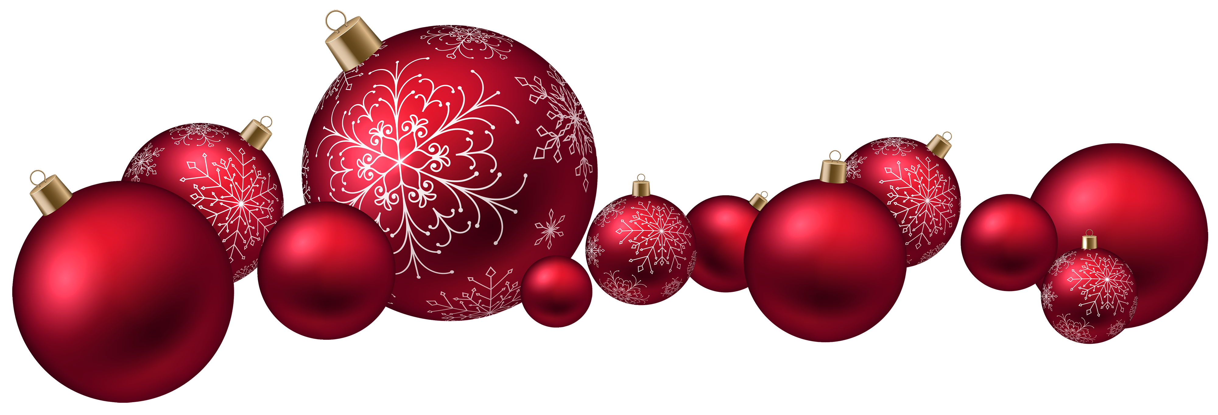 4000x1362 Red Christmas Ball Png Clipart