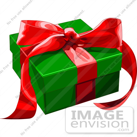 450x450 Clip Art Illustration Of A Green Present Box Adorned With Red