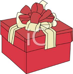 294x300 Red Christmas Present With A Red And White Bow Clip Art Image