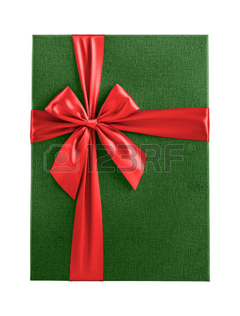 342x450 Green Christmas Present Isolated Top View Stock Photo, Picture