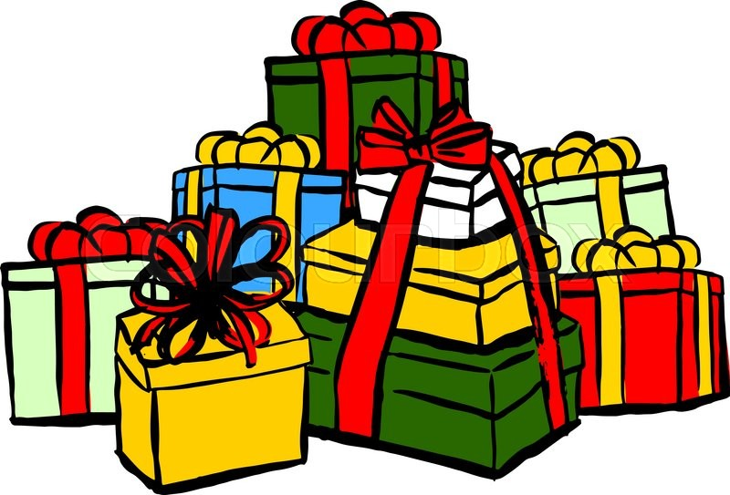 800x543 Stack Of Christmas Gifts. Ink Hand Drawn Sketch Isolated N White