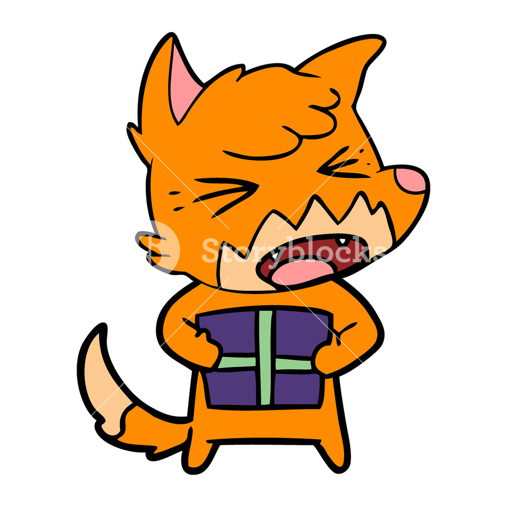 1000x1000 Cartoon Grinning Fox With Christmas Present Royalty Free Stock