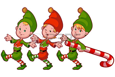 450x300 Christmas Elves With Candy. Vector Cliprt Illustration On