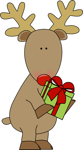278x500 Reindeer Holding A Christmas Gift Santa Claus Deer Christmas