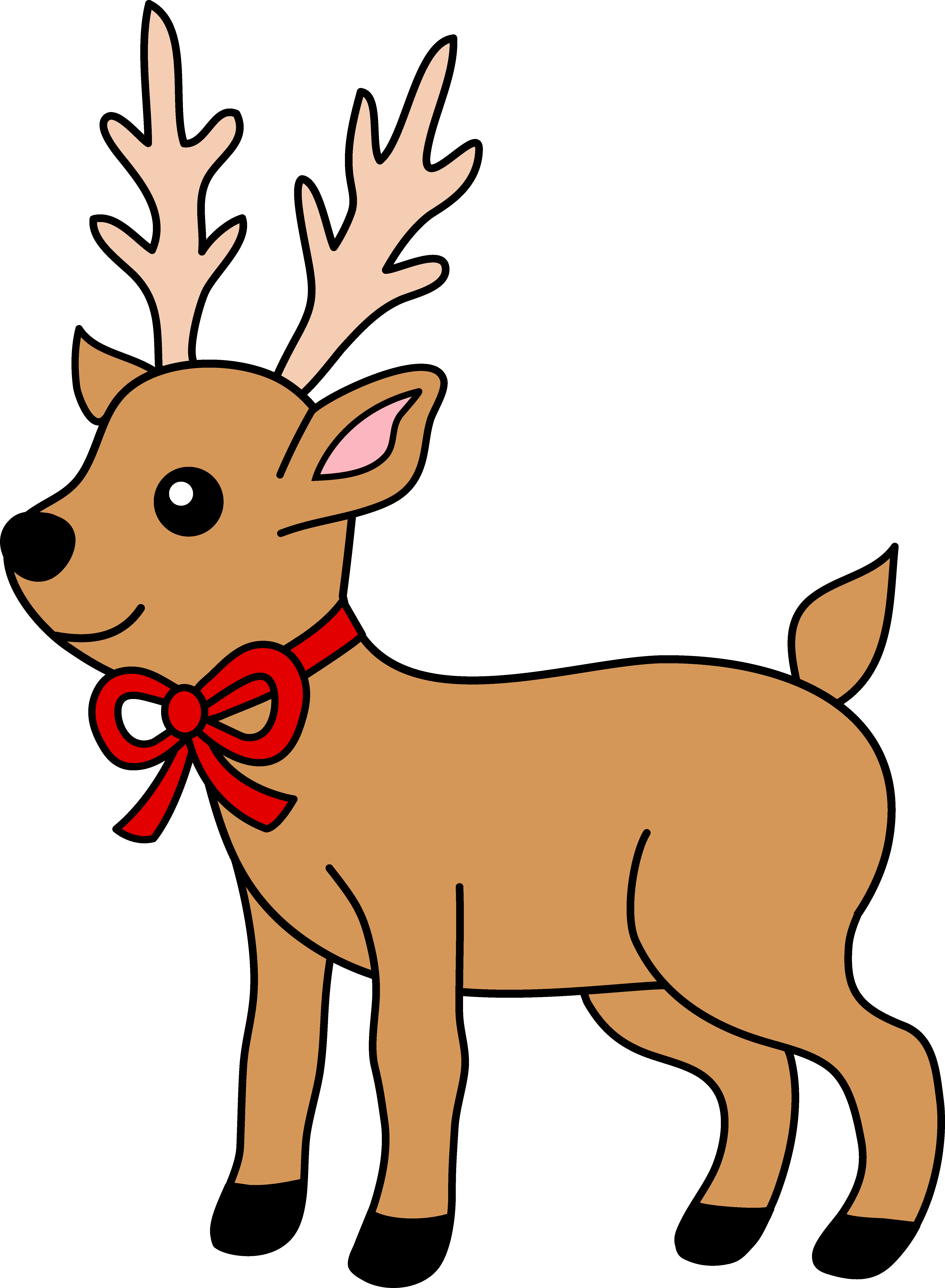 4945x6740 Christmas Reindeer With Red Ribbon