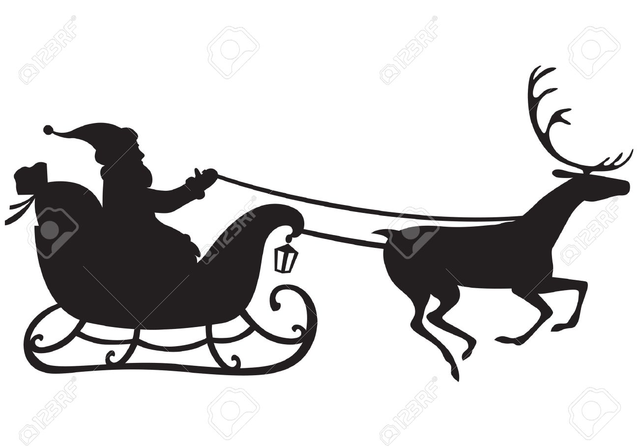 1300x909 Silhouette Of Santa Claus Riding A Sleigh Pulled By Reindeer