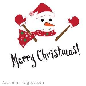 300x300 Clip Art Of A Snowman With Merry Christmas Written Below It