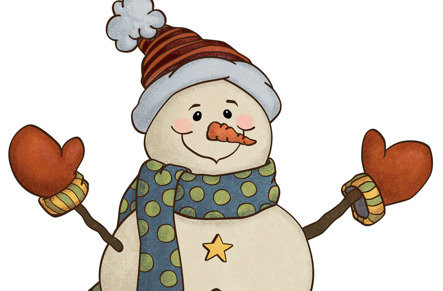 1500x986 Country Christmas Snowman Clipart