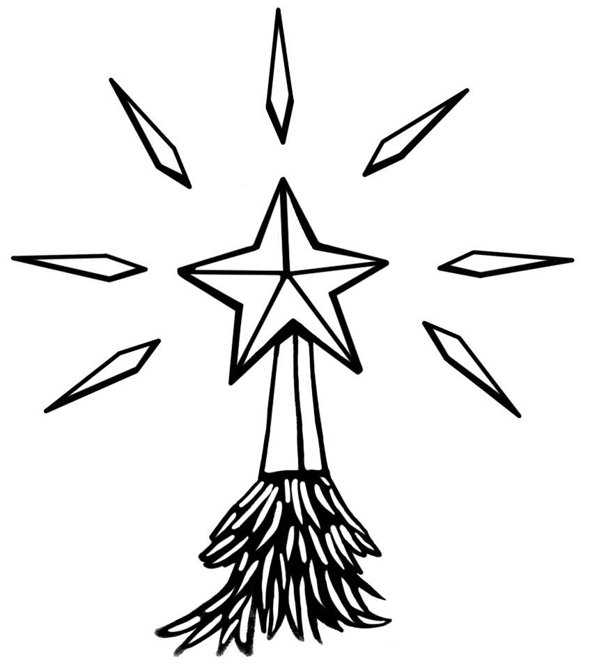 847x956 Christmas Star Outline Clipart