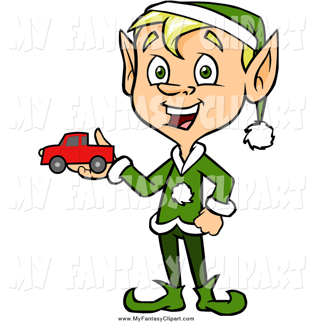 1024x1044 Clip Art Of A Happy Christmas Elf Holding A Toy Car By Cartoon