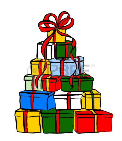 388x450 Stack Of Christmas Gifts. Ink Outline Hand Drawn Sketch Isolated