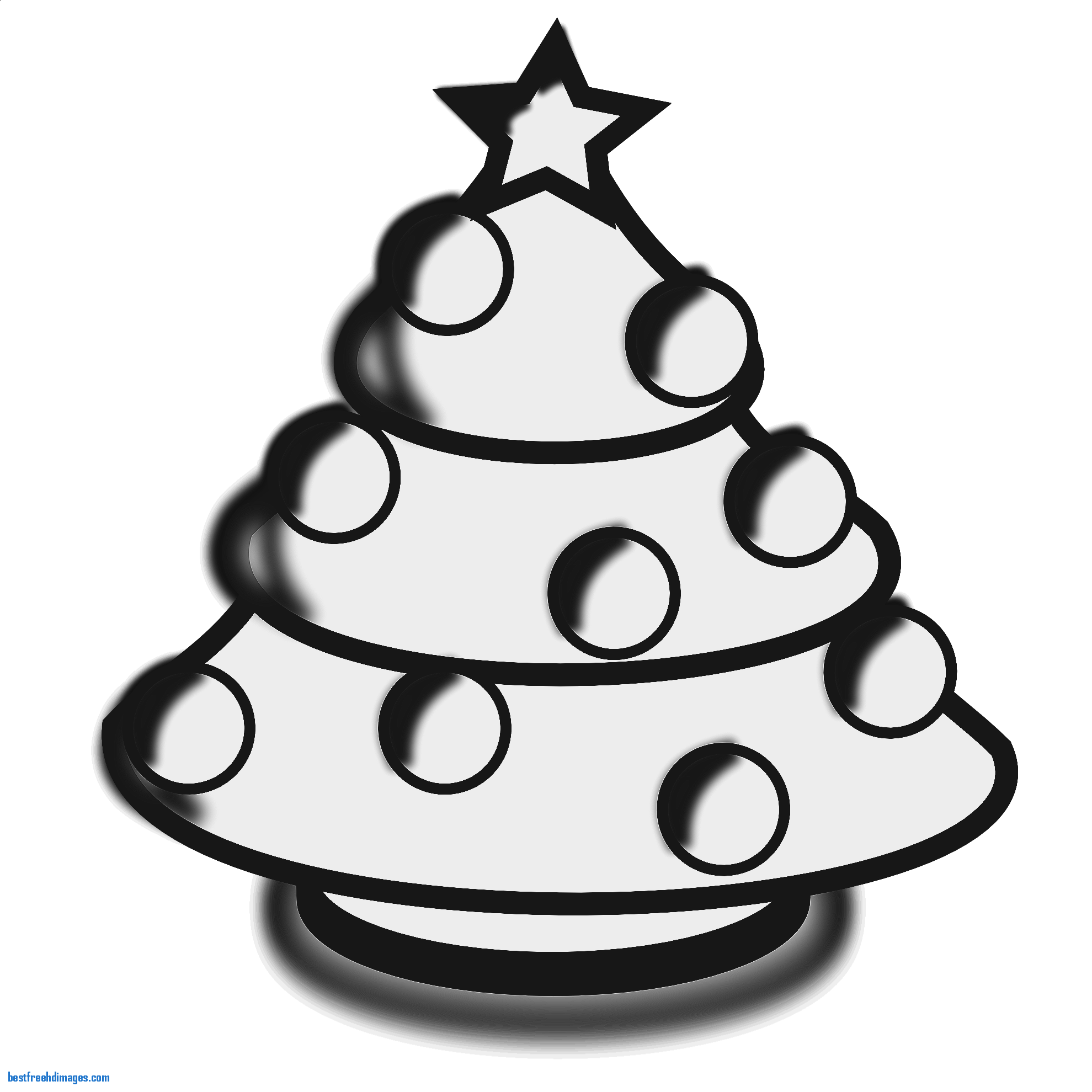 1979x1979 Lovely Christmas Tree Clip Art Black and White Hand Drawn Take for