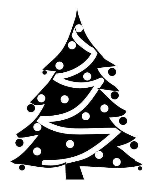 511x600 Black And White Christmas Tree Clipart – Merry Christmas And Happy