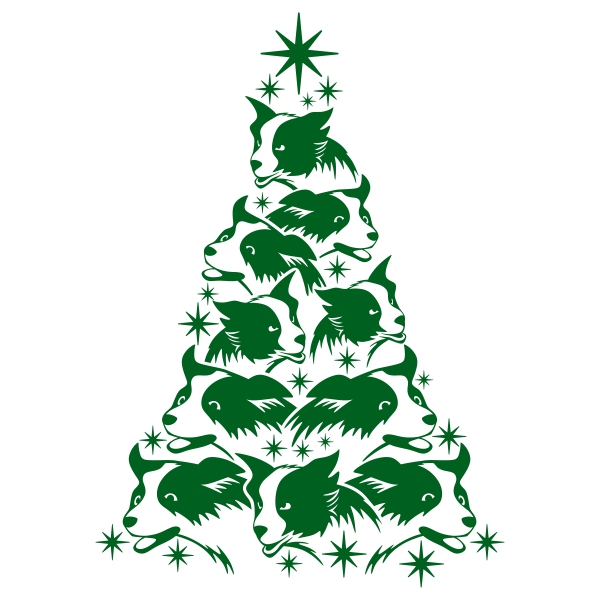 600x600 Collie Christmas Tree Cuttable Design